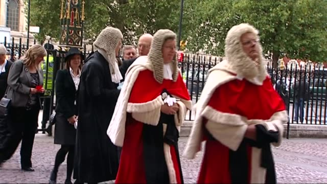 baroness hale appointed president r01100907 / 1102009 england london westminster abbey ext procession of judges along as attending ceremony to swear... - baroness stock videos & royalty-free footage