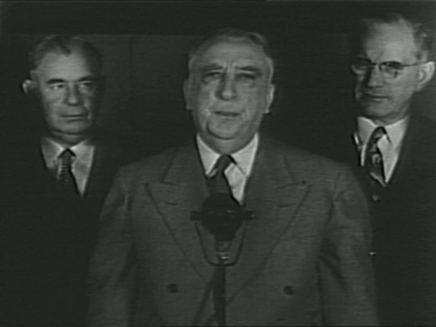 us supreme court chief justice fred m vinson speaks at night press conference with justice robert h jackson and justice stanley minton behind him /... - ethel rosenberg stock videos & royalty-free footage
