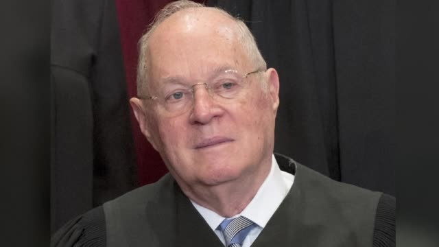 Supreme Court Justice Anthony Kennedy who has often cast the tie breaking vote between the top US court's liberal and conservative judges announces...