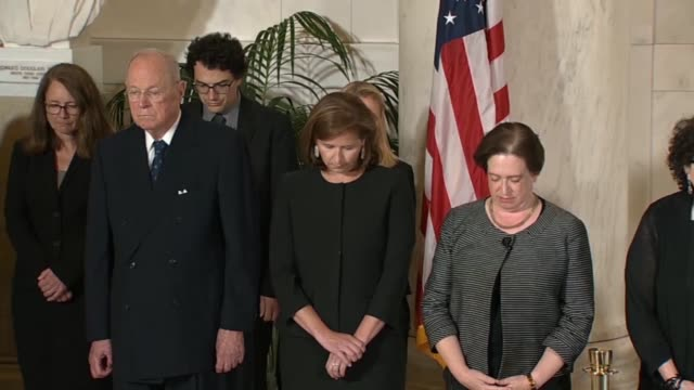 supreme court justice john roberts associate justices ruth bader ginsburg sam alito sonia sotomayor elena kagan and former justice anthony kennedy... - samuel alito stock videos & royalty-free footage