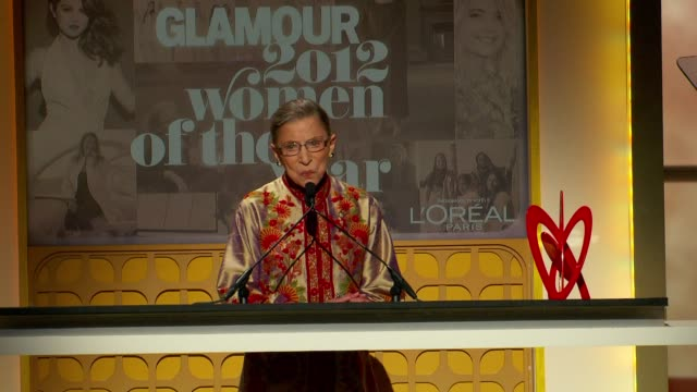 supreme court justice ruth bader ginsburg says it is a sign of progress that three women serve in the supreme court as she accepts her award at... - supreme court justice stock videos & royalty-free footage
