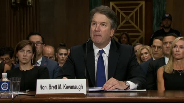 supreme court nominee judge brett kavanaugh reads from prepared remarks at a senate judiciary committee after sexual assault accuser christine blasey... - court hearing stock videos & royalty-free footage