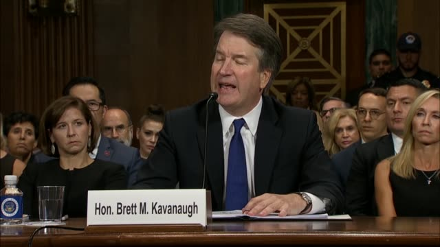 supreme court nominee judge brett kavanaugh reads from prepared remarks at a senate judiciary committee after sexual assault accuser christine blasey... - notizbuch stock-videos und b-roll-filmmaterial