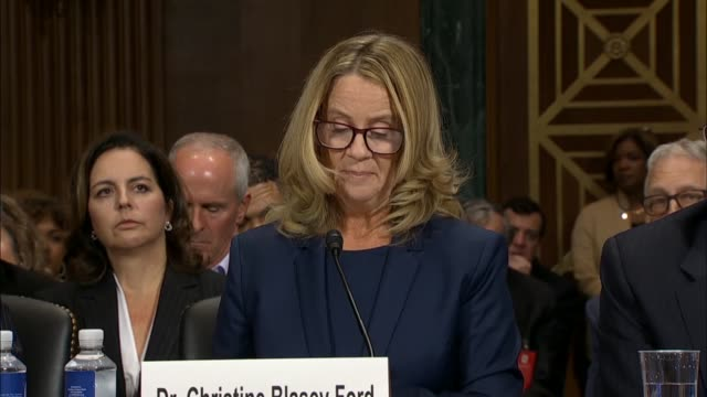 supreme court nominee judge brett kavanaugh sexual assault accuser christine blasey ford testifies before the senate judiciary committee that when... - testimony stock videos & royalty-free footage