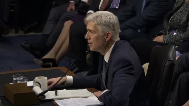 Supreme Court Nominee Neil Gorsuch engages the Senate Judiciary Committee during the third round of questioning on the second day of his nomination...