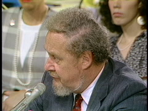 supreme court nominee robert bork denies he is a sexist during the senate judiciary committee trials in 1987. - legal trial stock videos & royalty-free footage