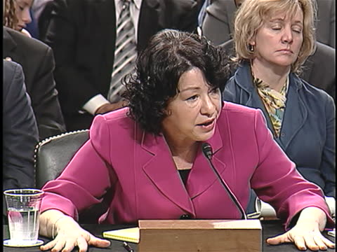 supreme court nominee sonia sotomayor testifies about identity politics during her confirmation hearings. - nominee stock videos & royalty-free footage