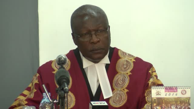 supreme court of uganda makes ruling in the presidential election petition, where amama mbabazi the former prime minister petitioned the court over... - kampala stock-videos und b-roll-filmmaterial