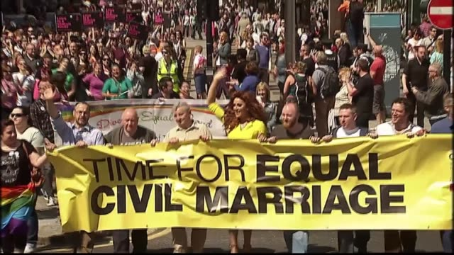 supreme court rules belfast bakery who refused to make 'support gay marriage' cake did not discriminate lib / tx june 2015 protesters towards with... - bakery stock videos and b-roll footage
