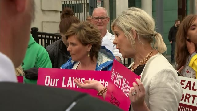 supreme court rules on northern irish abortion laws uk belfast library footage of rosa activists chanting at proabortion demonstration belfast ext... - belfast stock videos & royalty-free footage