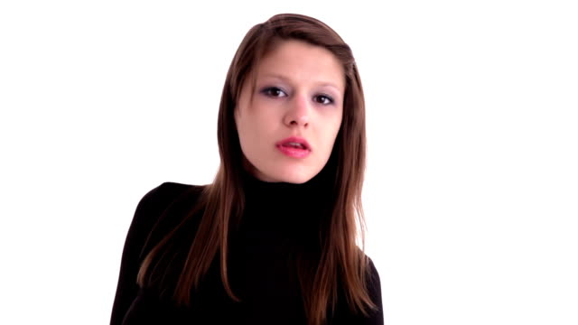 suprised and disappointed woman - polo neck stock videos & royalty-free footage