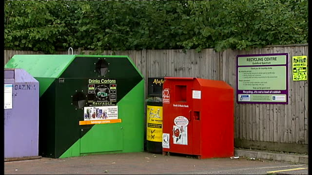 surey guildford ext recycling bins in car park of guildford leisure centre - guildford stock videos and b-roll footage