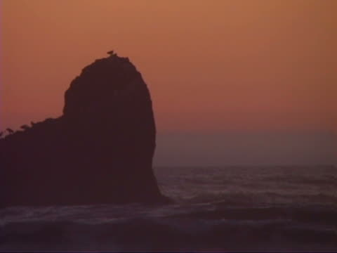 Surf and rock at sunset