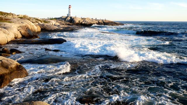 4k surf at peggy's cove - nova scotia stock videos and b-roll footage