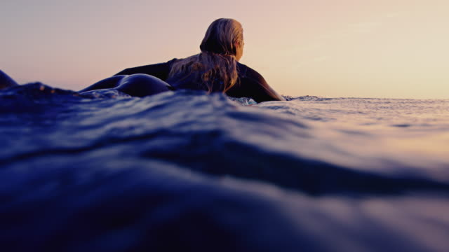 surf girl paddles by camera on a california summer evening on surfboard shot in slow motion at sunset. - scoperta video stock e b–roll