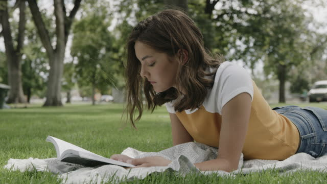 vídeos de stock e filmes b-roll de surface level view of girl laying on blanket in park reading book / provo, utah, united states - provo
