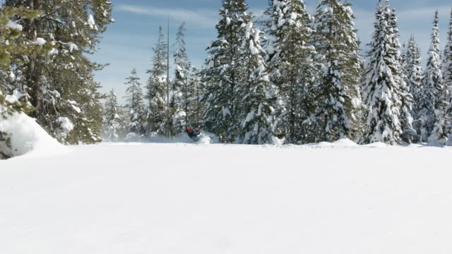 surface level view of men approaching and turning on snowmobiles in forest / island park, idaho, united states - idaho stock videos & royalty-free footage