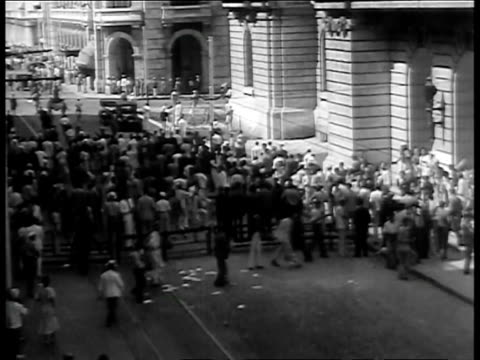 surface line employees derail and overturn street cars during a walkout after their employers refuse to submit the dispute to arbitration / strikers... - 1934 stock videos & royalty-free footage