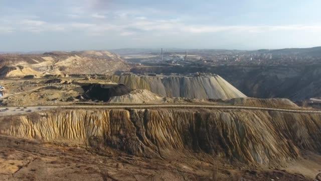 表面鉱山、空中写真 - 堆積岩点の映像素材/bロール