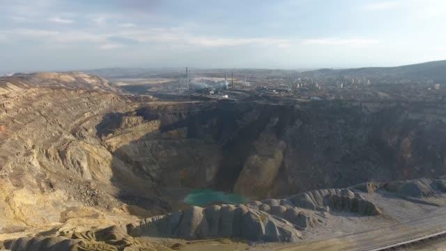 表面鉱山、空中写真 - ロックストラータ点の映像素材/bロール