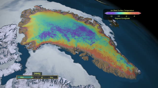 surface temperature of the greenland ice sheet during the summer of 2005 - ice sheet stock videos and b-roll footage