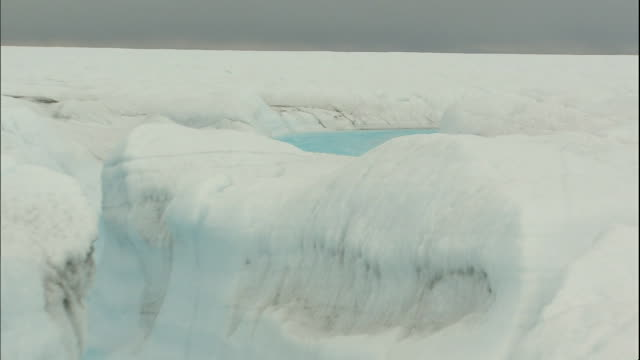 Surface water flows through a channel in the Sermeq Kujalleq glacier in Greenland. Ilulissat Icefjord, Sermeq Kujalleq-glacier