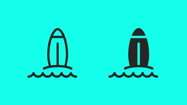 surfboard on the beach icons - vector animate - sports period stock videos & royalty-free footage