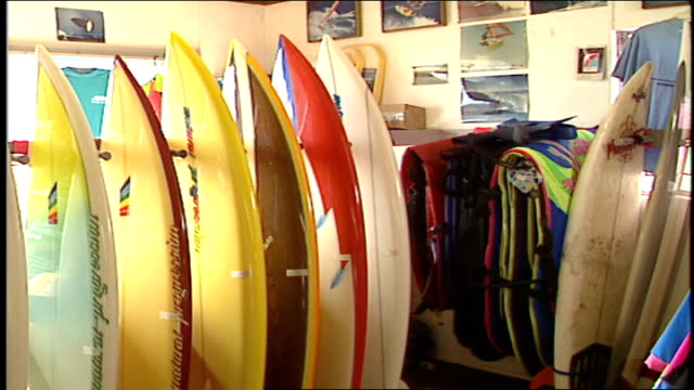 cu surfboards on display in store malibu california - water sports equipment stock videos and b-roll footage