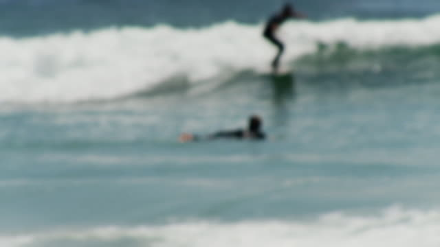 vídeos de stock, filmes e b-roll de ws pan surfer bouncing on wave / laguna beach, california, usa - kelly mason videos