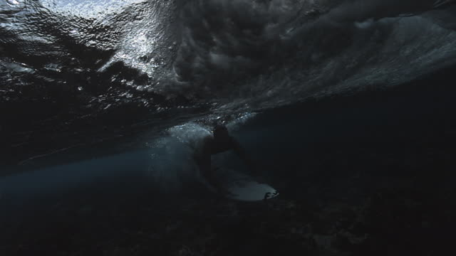 A surfer dives under a powerful wave, then resurfaces. Available in HD.