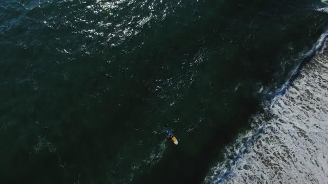 Surfer girl sitting on a surfboard 4K