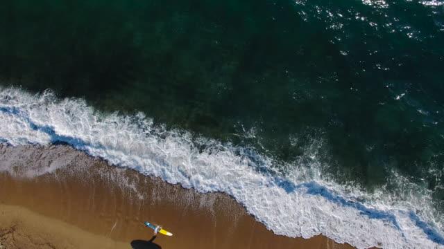 Surfer girl walking down the beach 4K