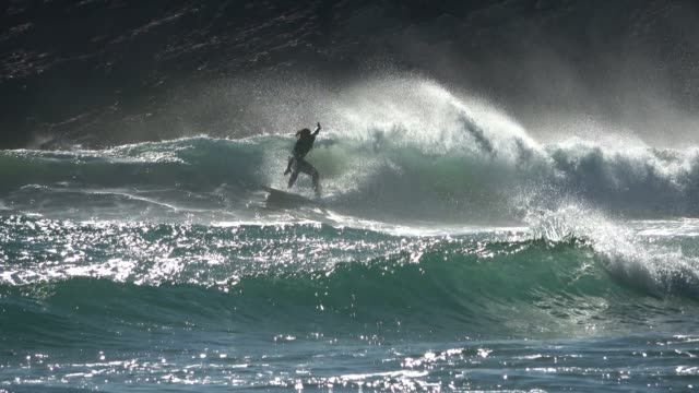 surfer in action on the atlanticwaves, west coast of portugal - pipeline stock videos and b-roll footage