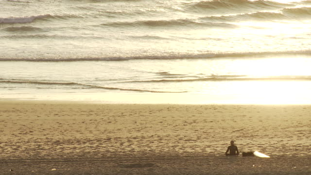 MS Surfer looking out on ocean in evening / Cap de l'Homy, Aquitaine, France