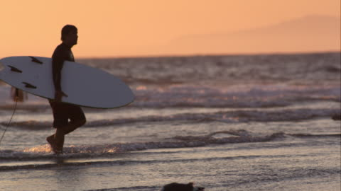 surfer on california beach - walking in water stock videos & royalty-free footage