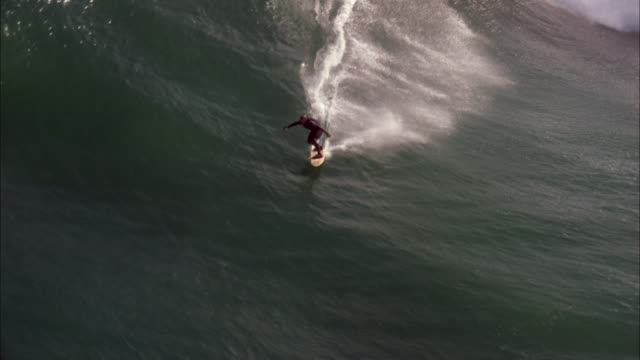 surfer rides huge waves. available in hd. - largo descrizione generale video stock e b–roll