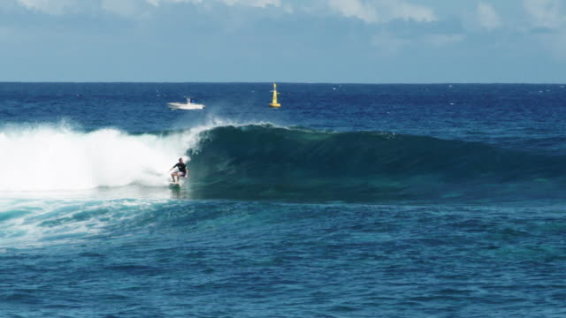 vidéos et rushes de surfer rides waves in reunion island - dom tom