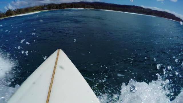 pov of surfer riding down wave - タートル湾点の映像素材/bロール