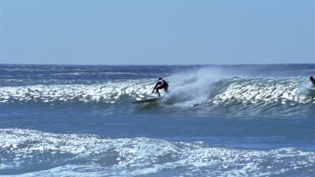 surfer riding wave / surfers in water / long beach, kommetjie / cape town, south africa - kapstadt stock-videos und b-roll-filmmaterial