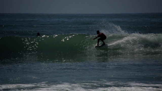 surfer rips down a line topanga beach surfing - malibu bildbanksvideor och videomaterial från bakom kulisserna