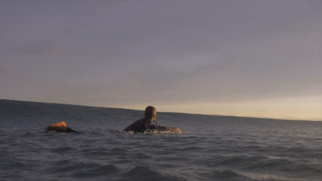 a surfer surfing waves on his surfboard. - remo video stock e b–roll