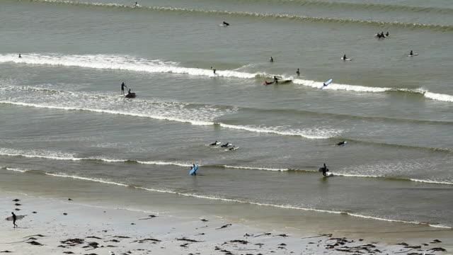 vidéos et rushes de surfers and swimmers on a beach in cape town - le cap