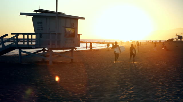 surfisti al tramonto in venice beach - bagnino video stock e b–roll