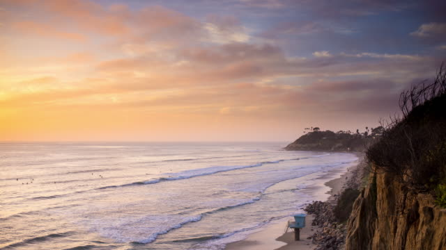Surfers in Pacific Ocean During Beautiful Sunset - Time Lapse