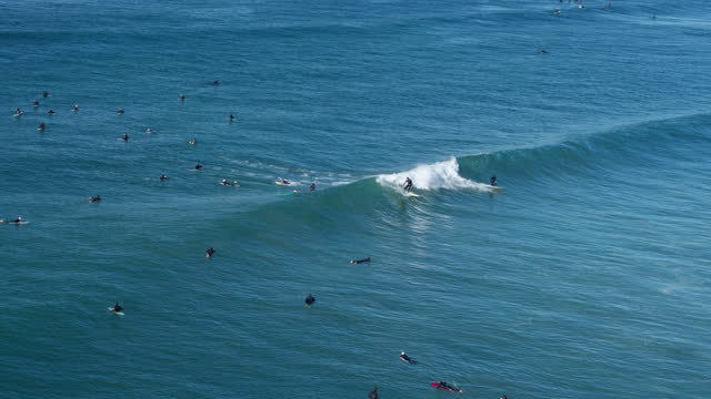 surfers on a wave - aerial - north pacific stock videos & royalty-free footage