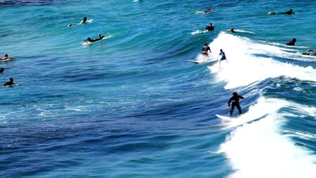 vídeos de stock, filmes e b-roll de surfistas onda - praia de bondi