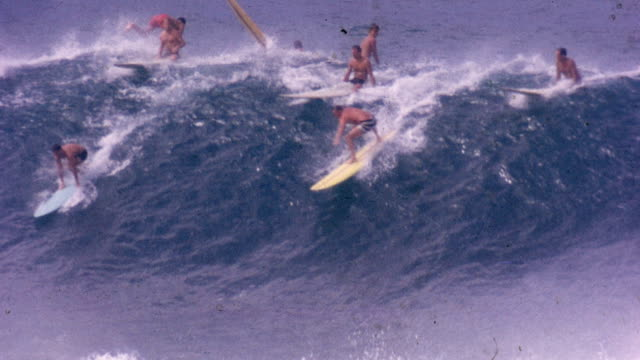 surfing at waimea bay - surf stock videos & royalty-free footage