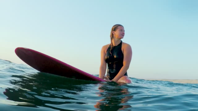 surfing woman in atlantic ocean on summer evening on surfboard at sunset - surfboard stock videos & royalty-free footage