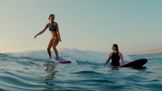 surfing women in atlantic ocean on summer evening on surfboard at sunset - two people stock videos & royalty-free footage