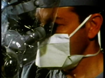 1969 cu surgeon looking through endoscope or microscopic camera during stapedectomy procedure in operating theatre/ usa/ audio - endoscope stock videos & royalty-free footage